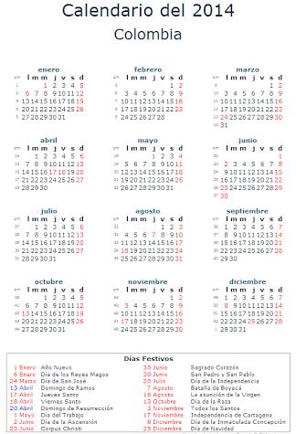 calendario 2014 colombia