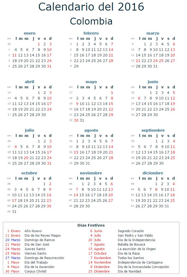 calendario laboral 2016 colombia